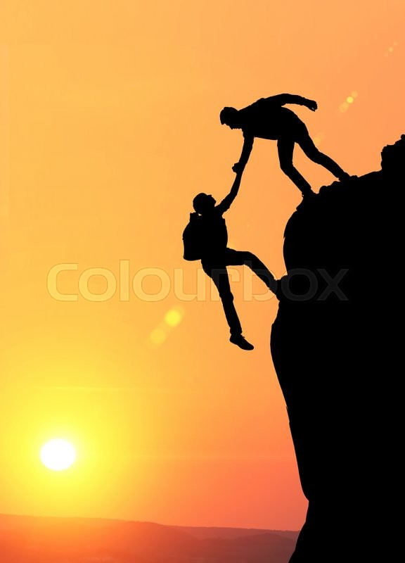 Stock Image Of Teamwork Couple Hiking Help Each Other Trust Assistance Silhouette In Mountains