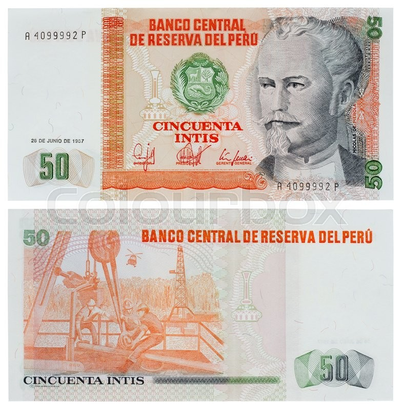 Moscow russia september 17 2015 banknote of peru old currency the inti was introduced on 1 february 1985 the inti was the currency of peru between 1985 and 1991 stock photo colourbox thecheapjerseys Choice Image