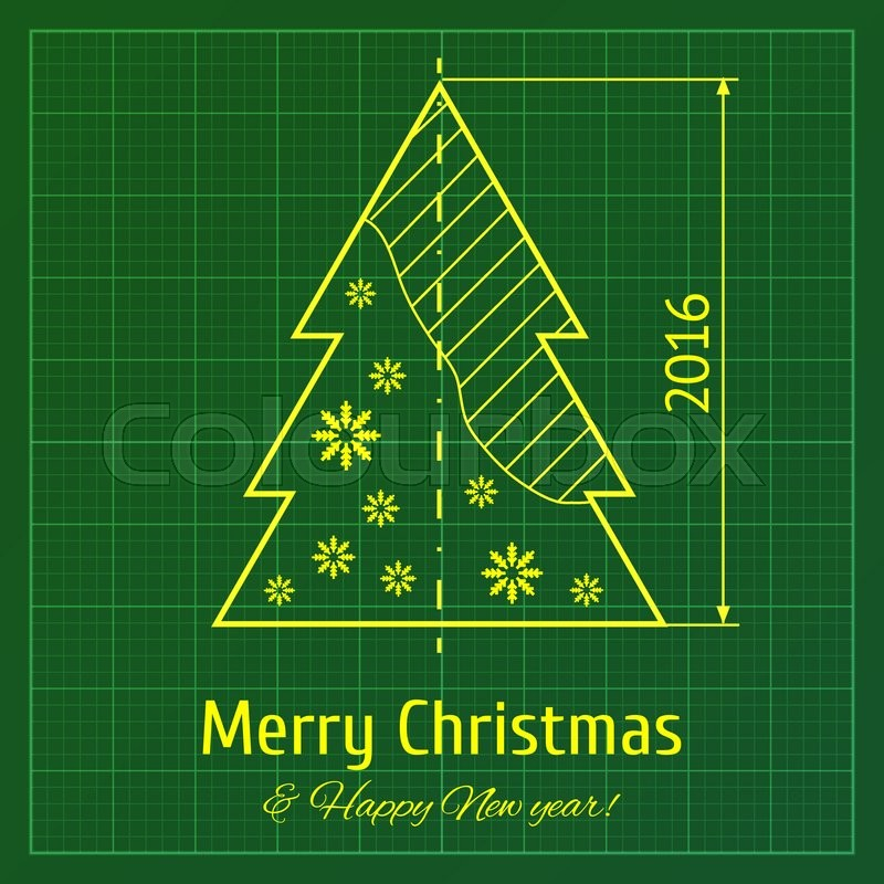 christmas tree sketch on green architect graph paper project