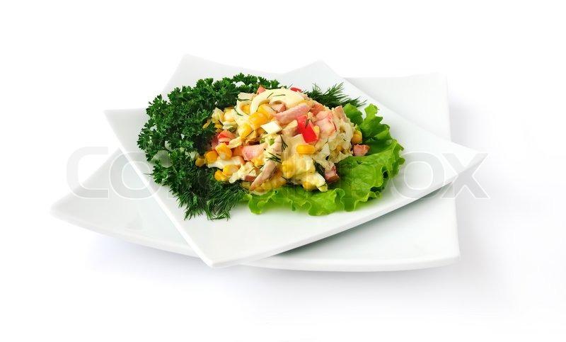 ein salat aus mais chinakohl ei schinken paprika und mayonnaise stockfoto colourbox. Black Bedroom Furniture Sets. Home Design Ideas