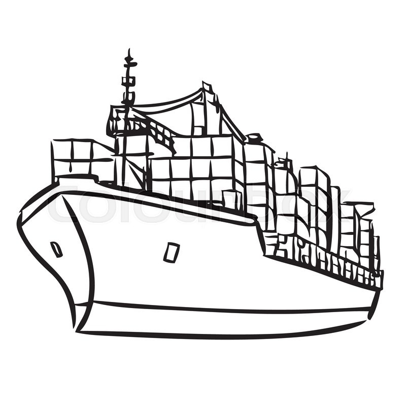 Freehand Sketch Illustration Of Cargo Ship With Containers Icon Doodle Hand Drawn Stock