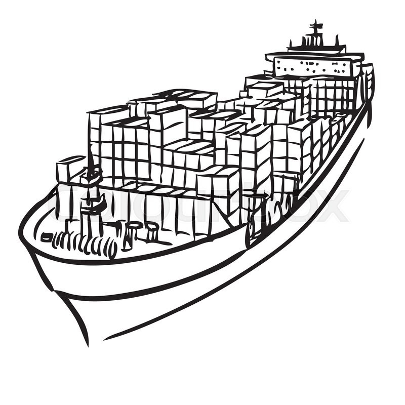 freehand sketch illustration of cargo ship with containers