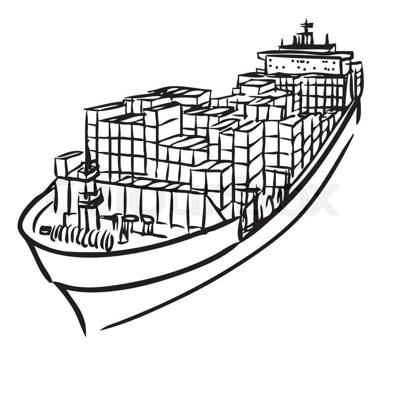 Cargo Ship Outline Drawing | www.pixshark.com - Images ...