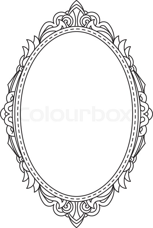 Antique, vintage, oval frame with blank space for text. May be used ...