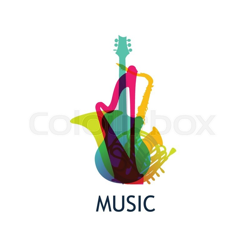 logo for music company with colorful instruments vector illustration isolated on white background stock vector colourbox