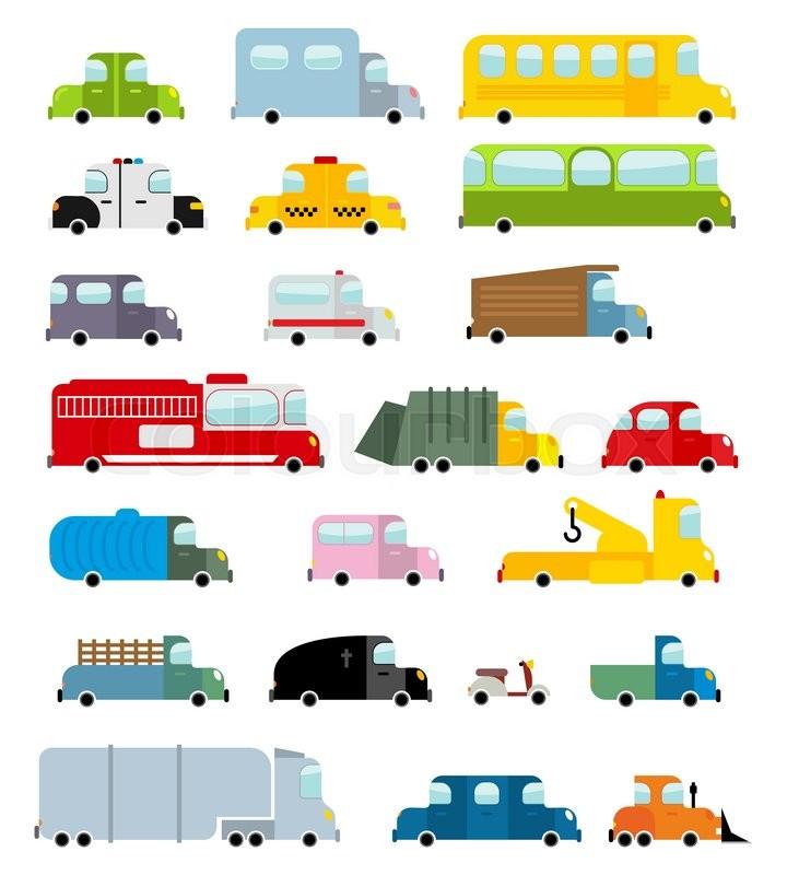 Car Set Cartoon Style. Big Transport Icons Collection