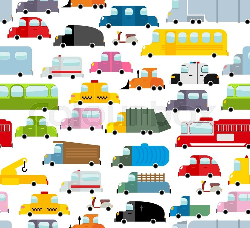 car seamless pattern background of transport in cartoon style many