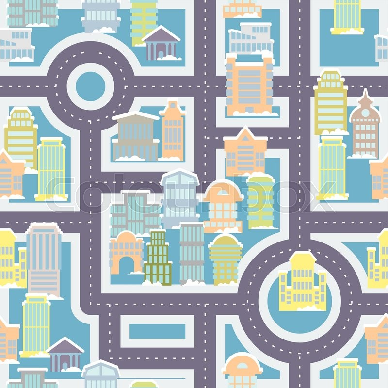 City Street Seamless Pattern Public Buildings And Skyscrapers Cute Magnificent Urban Pattern