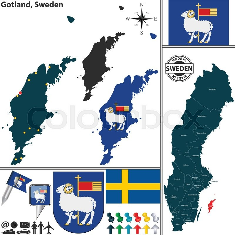 Vector Map Of County Gotland With Coat Of Arms And Location On - Sweden map gotland