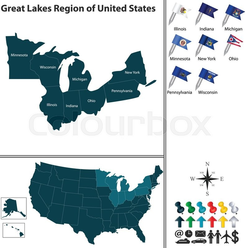 Vector set of Great Lakes region of ... | Stock vector ...