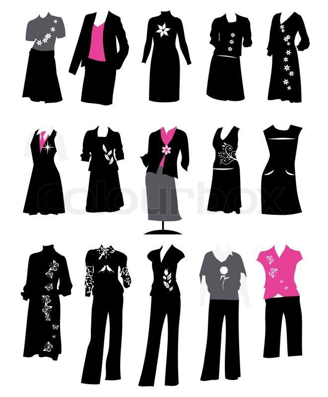 Sammlung Von Frauen Business Anz Ge B Ro Stil Dresscode Stock Vektor Colourbox