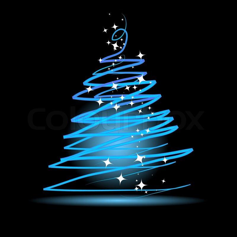 Christmas Tree On Black Background Stock Vector Colourbox