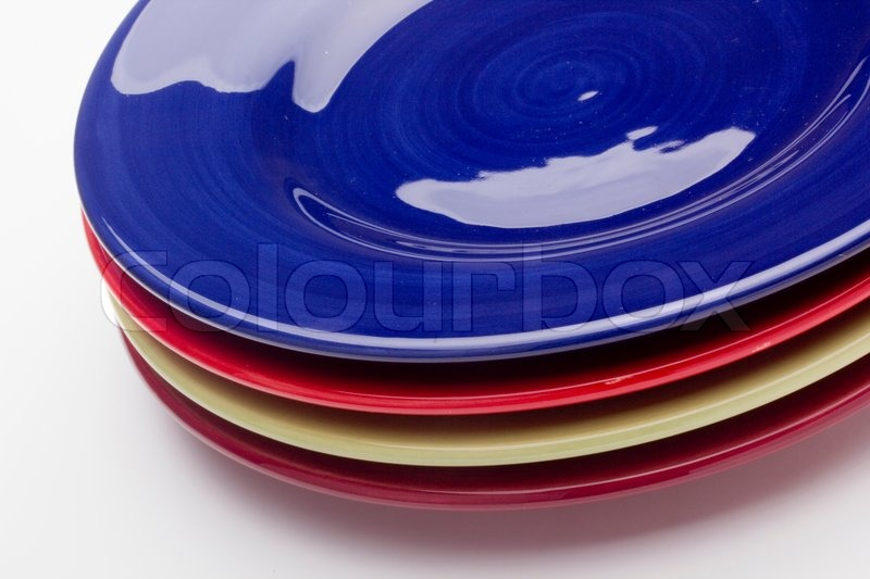 & Colorful ceramic plates for the main dishes. | Stock Photo | Colourbox