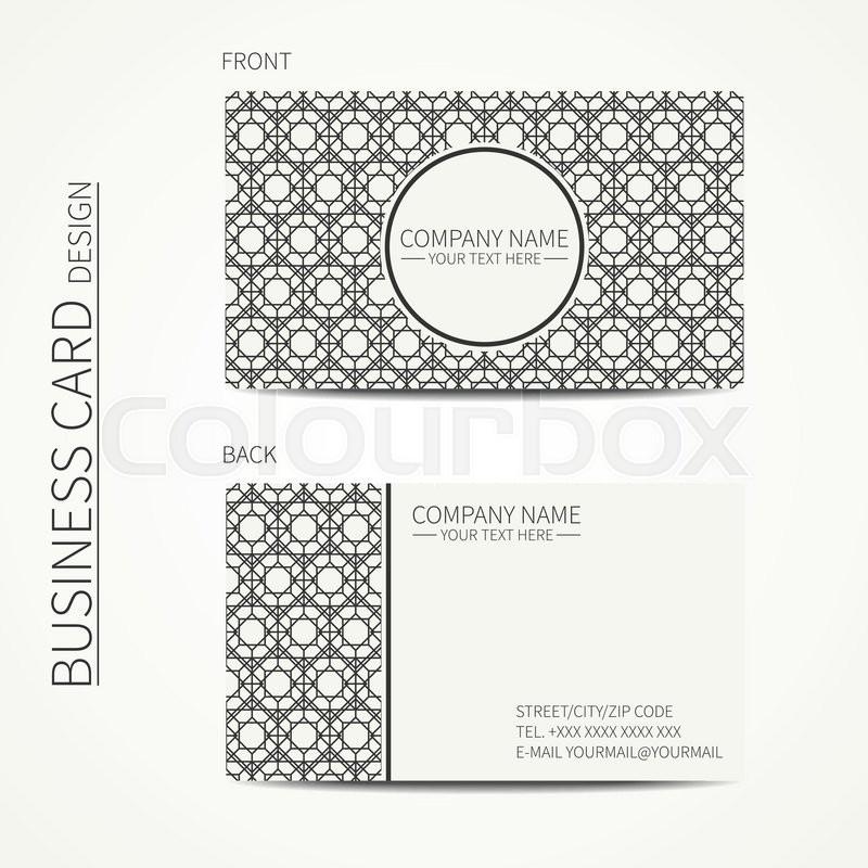 Geometric lattice monochrome business card template for your ...