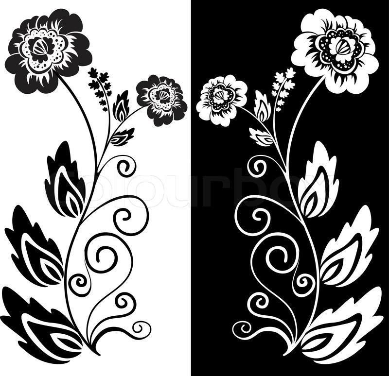 Satz von zwei Schwarz-Weiß Hand gezeichneten Blüten | Vektorgrafik ...