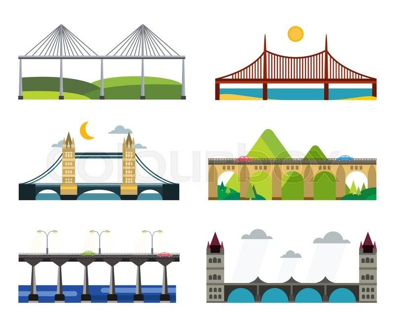 Bridge Vector Set Bridges Silhouette Vector Illustration