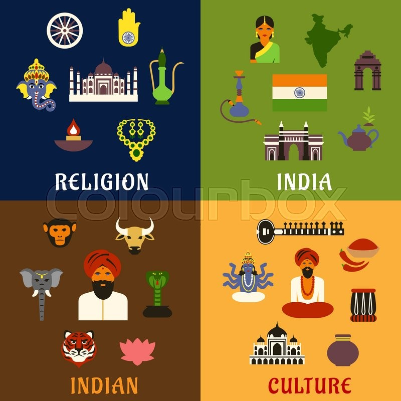 indian culture religion travel and national flat icons