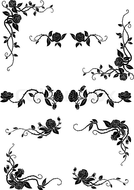 Vintage Floral Borders With Blooming Stock Vector