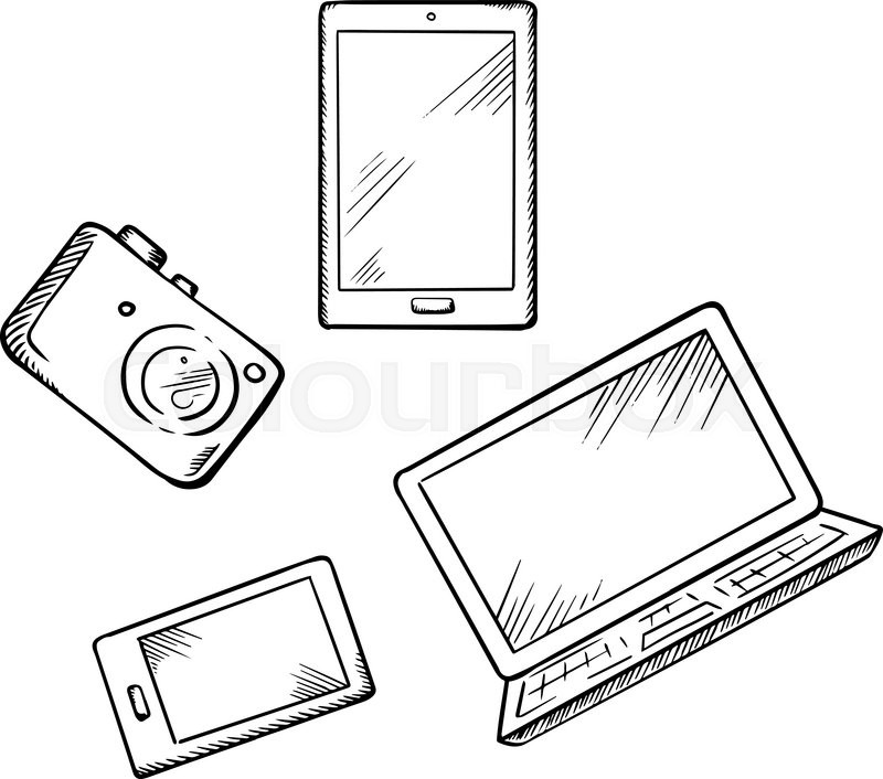 sketch of modern smartphone  tablet pc  laptop and digital photo camera  for electronic devices
