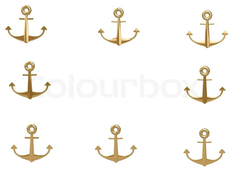 3d Gold Anchor Photo Frame Isolated On White