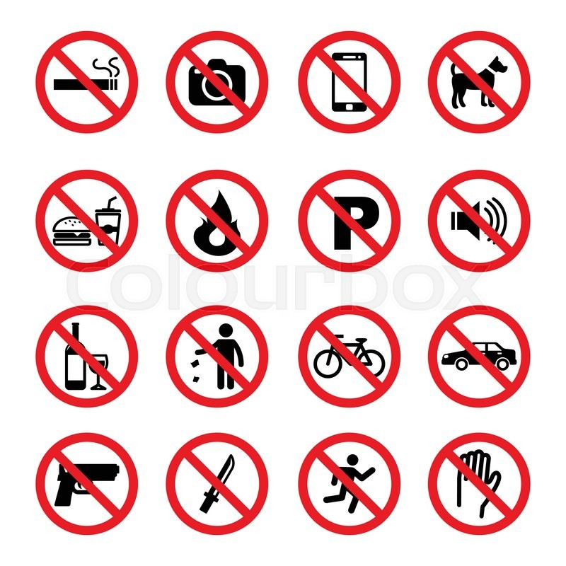 Set Of Prohibition Sign Vector Symbols Stock Vector
