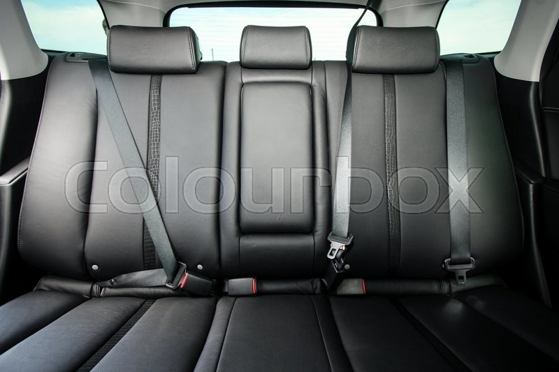 Back passenger seats in modern comfortable car, stock photo