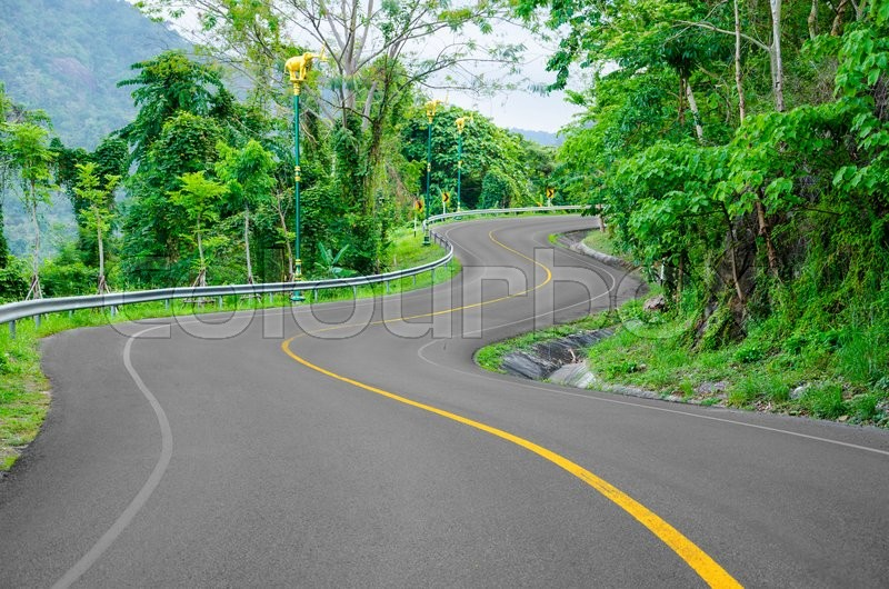 An empty S-Curved road on skyline drive, stock photo