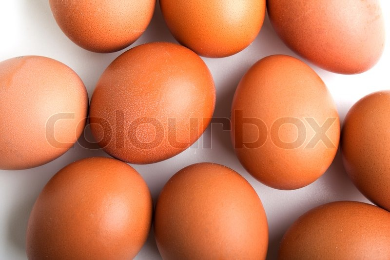 Brown chicken egg food white background isolated, stock photo