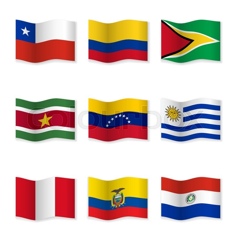 waving flags of different countries flag icons on white background