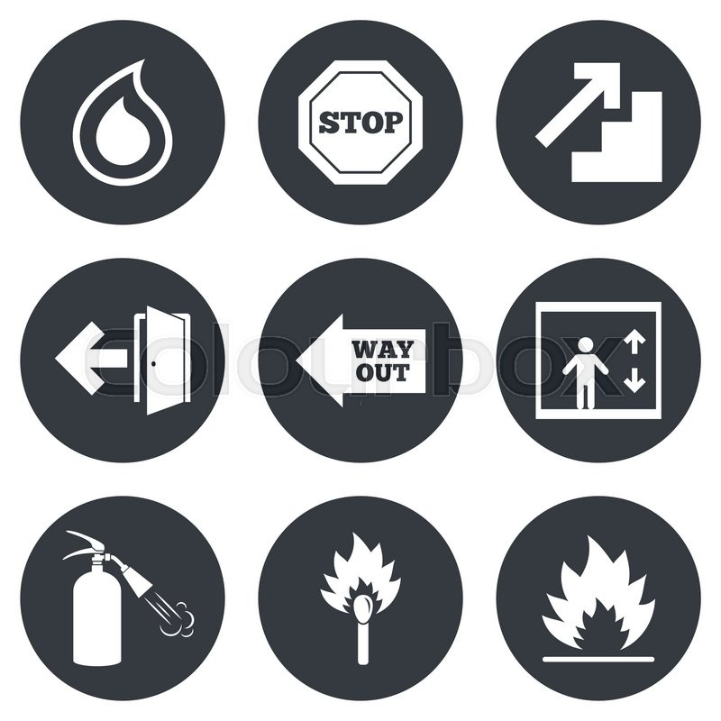 Fire Safety Emergency Icons Fire Extinguisher Exit And Stop Signs