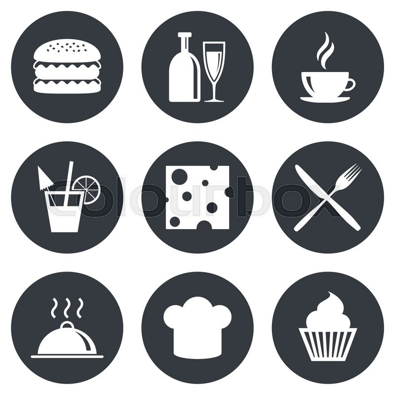 Food, drink icons. Coffee and hamburger signs. Cocktail, cheese and cupcake symbols. Gray flat circle buttons. Vector, vector