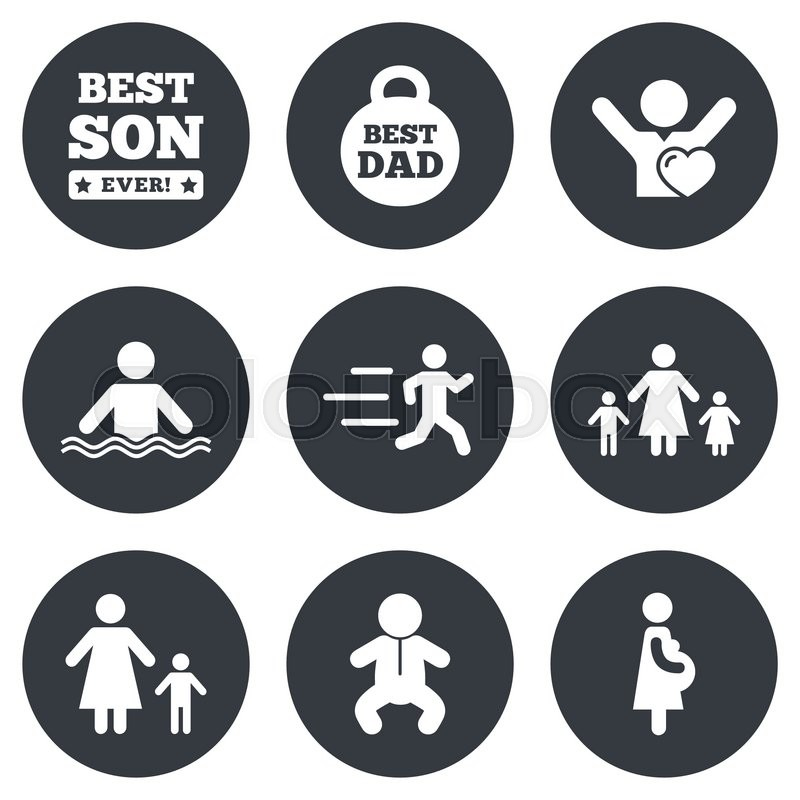 People, family icons. Swimming, baby and pregnant woman signs. Best dad, runner and fan symbols. Gray flat circle buttons. Vector, vector