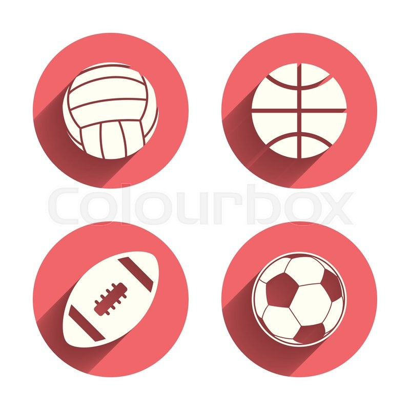 Sport balls icons. Volleyball, Basketball, Soccer and American football signs. Team sport games. Pink circles flat buttons with shadow. Vector, vector