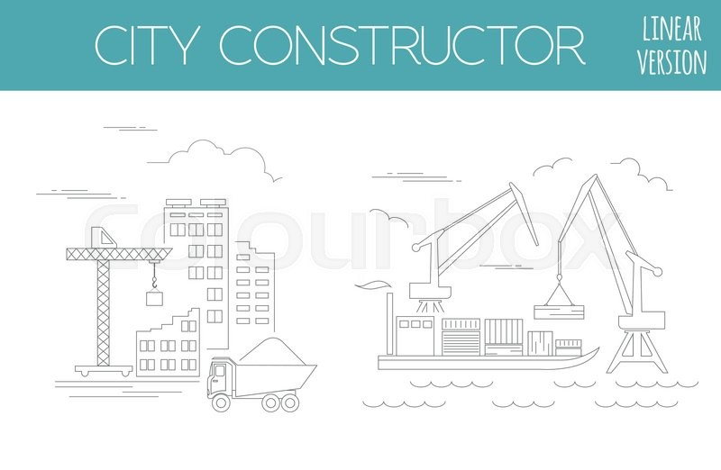 great city map creator house constructor infrastructure industrial transport outline version make your perfect city vector illustration vector - House Map Creator