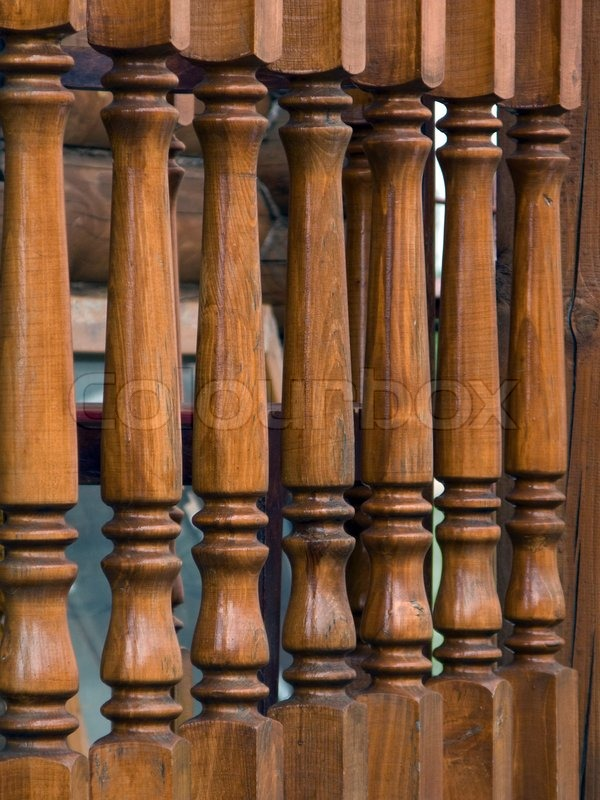 Wood railing steps of staircase house structure, stock photo