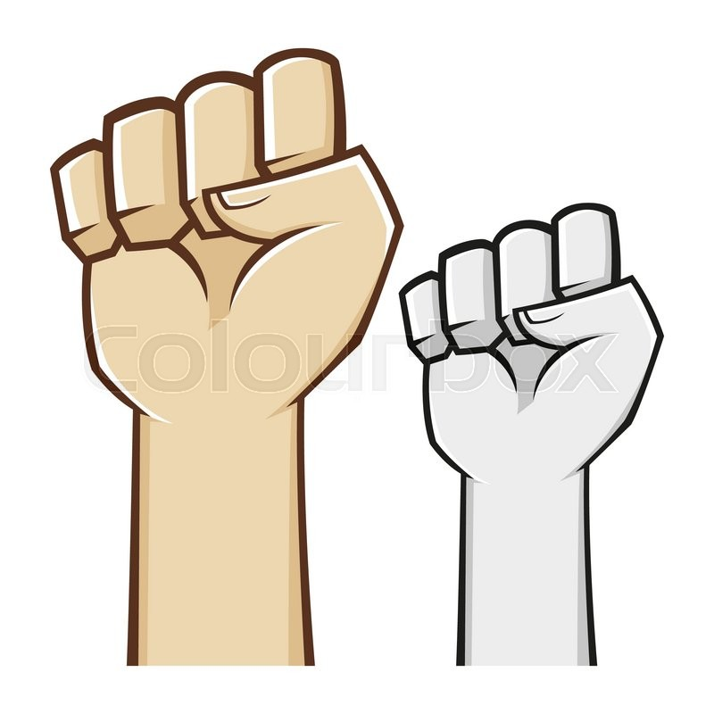 Hand Clenched Fist Symbol In Vector Illustration Stock Vector