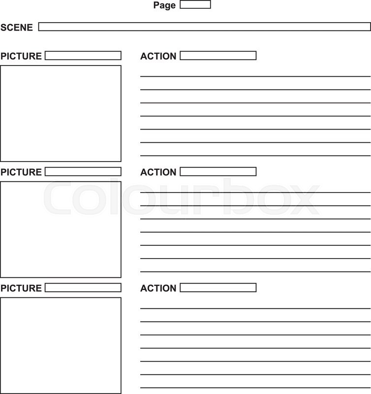 The Template For The Script Storyboard. Vector Illustration