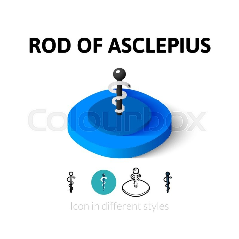 Rod Of Asclepius Icon Vector Symbol In Flat Outline And Isometric