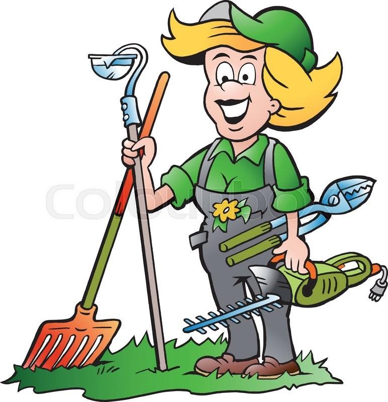 vector cartoon illustration of a handy gardener woman. Black Bedroom Furniture Sets. Home Design Ideas