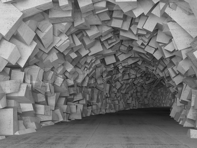 Turning Concrete Tunnel Interior With Stock Photo
