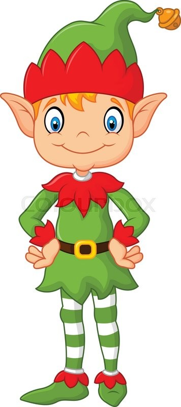 Vector illustration of Cartoon Cute Christmas elf posing ...