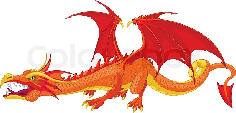 illustration of a beautiful detailed red dragon vector