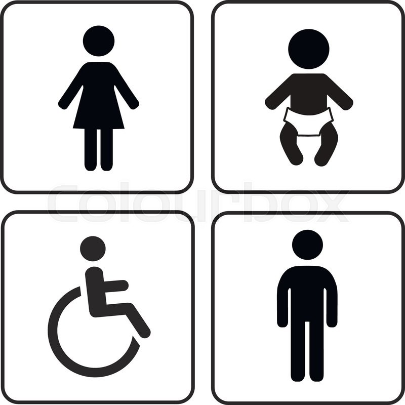 Vector Restroom Icons Lady With Man Child And Disability Stock