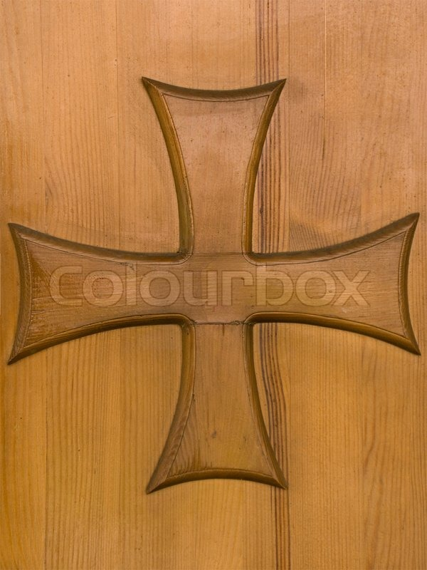 Old Wood Church Door With Religion Cross Stock Photo