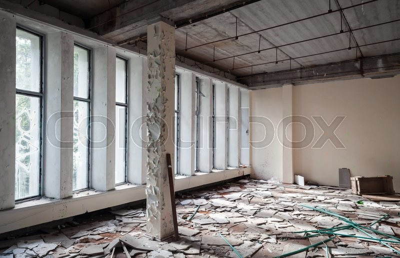 Abandoned Industrial Building Interior Concrete Walls And