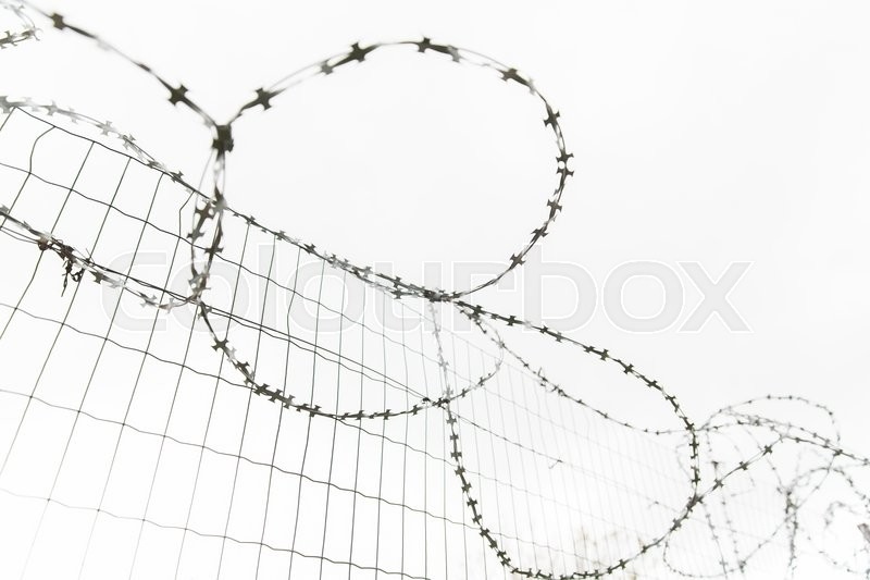 Imprisonment, restriction concept - barb wire fence over gray sky, stock photo