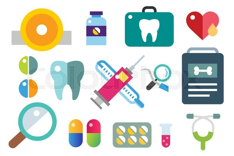 medicine vector icons set doctors tools for health care