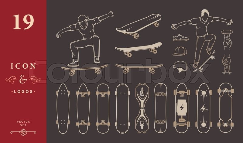 Set of skateboards and skateboarding of equipment, clothing, protection, and elements of street style. Silhouettes tricks skateboarders, and big collection symbols skateboards, vector