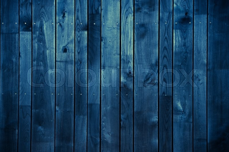 Dark Blue Wood Background Blue Painted Stock Photo