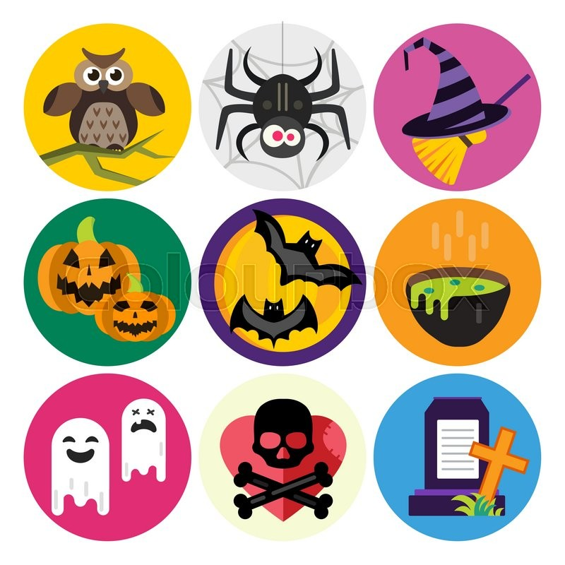 Halloween vector icons set. Pumpkin head, witch broom, candy and ...